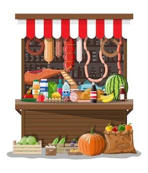 Markt winkel interieur met goederen.