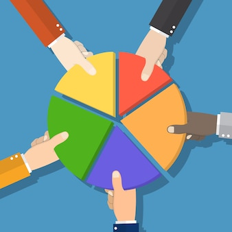 Marktaandeel. met de hand plukken cirkeldiagram