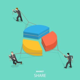 Marktaandeel plat isometrisch concept