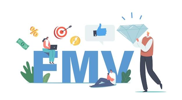 Marktconcept tegen reële waarde. tiny business people-personages met briljante, duim omhoog en digitale apparaten rond enorme fmv-typografie, waarde en eerlijk evenwicht, financiën. cartoon vectorillustratie