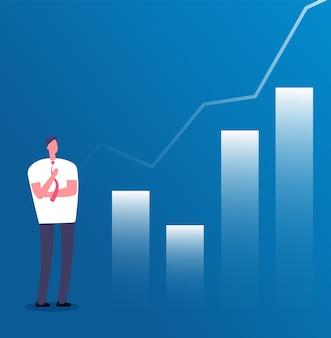 Marktgroei concept. zakenman met groeigrafiek. succesvol zakendoen, planning van investeringsinkomsten en carrièregroei