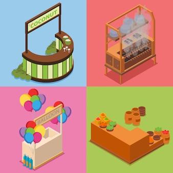 Marktkraam isometrische illustratie pack