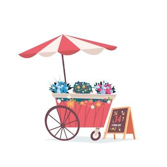 Marktkramen eerlijke handel tent buiten kiosk met bloemen valentijnsdag viering concept wenskaart banner uitnodiging poster illustratie