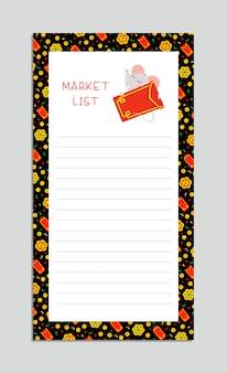 Marktlijsten met kleine muis platte vector sjabloon. oosters ontwerp met rat die de rode illustratie van het envelopbeeldverhaal houden.