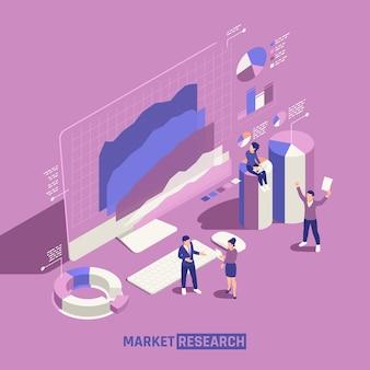 Marktonderzoek met mensen die grafische lijnen, staaf- en taartgrafieken isometrisch onderzoeken