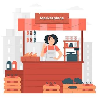 Marktplaats concept illustratie