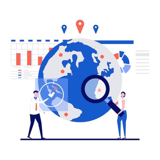 Marktplaatsconcept met karakter. ondernemers zoeken marktplaats.
