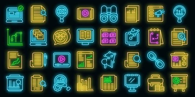 Marktstudies pictogrammen instellen. overzichtsreeks marktstudies vectorpictogrammen neonkleur op zwart