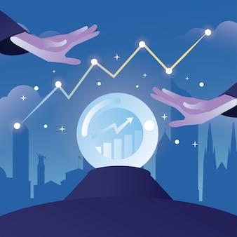 Marktvoorspelling illustratie met kristallen bol en magische hand met stad gebouw vorm als achtergrond