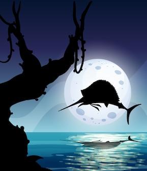 Marlijn vis in natuur scène silhouet
