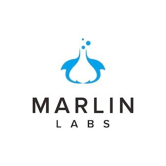 Marlin and labs eenvoudig strak creatief geometrisch modern logo-ontwerp