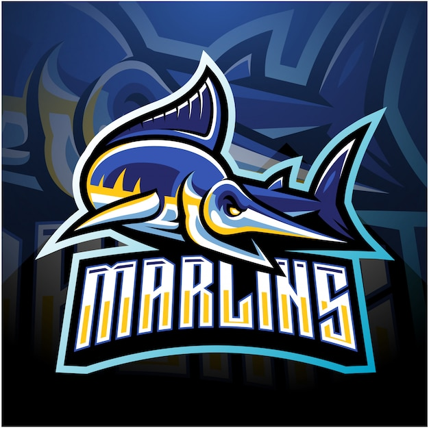 Marlin esport mascotte logo