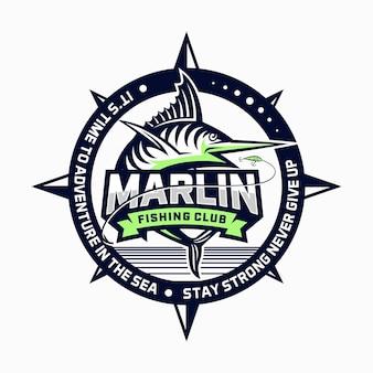 Marlin visserij club logo ontwerp