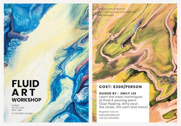 Marmeren art poster sjabloon vector in kleurrijke esthetische stijlenset