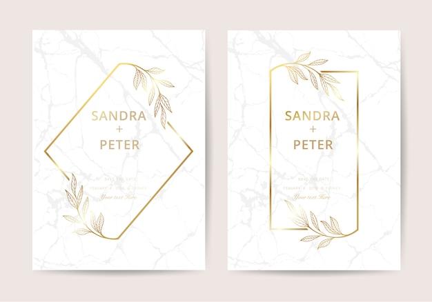 Marmeren bruiloft uitnodiging in luxe stijl Premium Vector