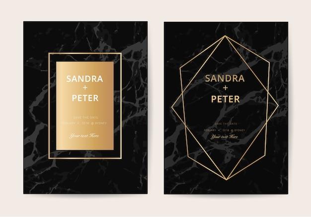 Marmeren bruiloft uitnodigingskaart in luxe stijl Premium Vector