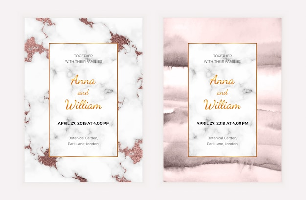 Marmeren bruiloft uitnodigingskaart met rose goud folie en aquarel textuur.