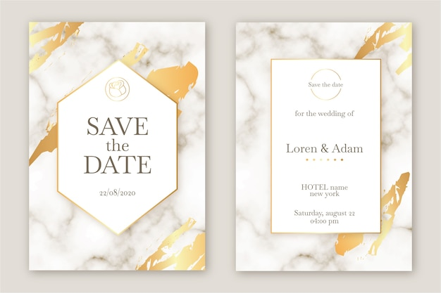 Marmeren elegante bruiloft uitnodiging sjabloon