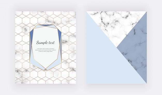 Marmeren geometrisch ontwerp met blauwe driehoekige folietexturen.