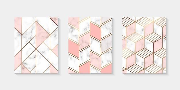 Marmeren gestructureerde achtergrond collectie met gouden geometrische lijn