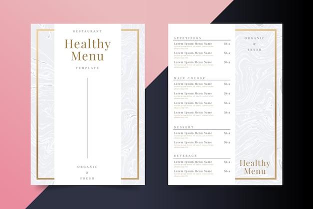 Marmeren gezond eten restaurant menusjabloon