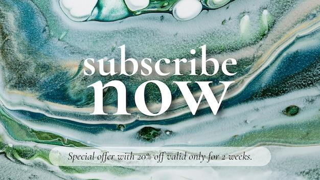Marmeren kunstverkoopsjabloon abonneer je nu op mode voor blogbanner