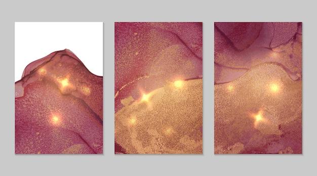 Marmeren set van bordeauxrode en gouden abstracte achtergronden met glitter