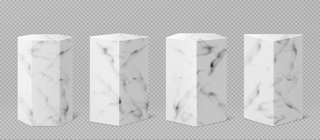 Marmeren sokkels of podium, abstracte geometrische lege museumpodia