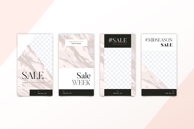 Marmeren stijl voor het verkopen van producten op instagram-verhalencollectie