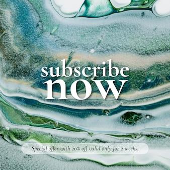 Marmeren swirl-verkoopsjabloon abonneer u nu op een advertentie op sociale media