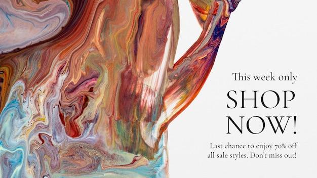 Marmeren swirl-verkoopsjabloon voor modeblogbanner