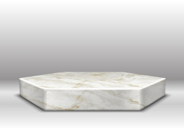 Marmeren textuur zeshoekig podium met gouden decoratie op grijs