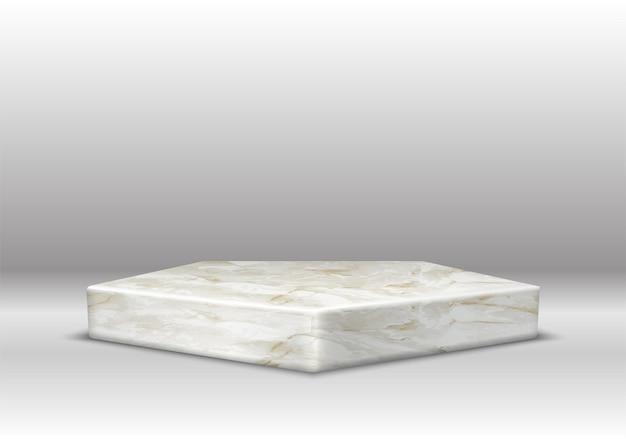 Marmeren textuur zeshoekig podium.