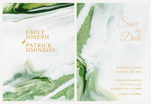 Marmeren trouwkaartsjabloon in esthetische stijl