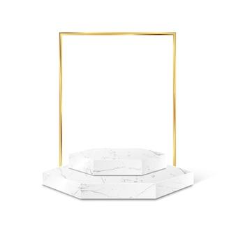 Marmeren veelhoekproductplatform met gouden frame geïsoleerd