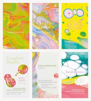 Marmeren visitekaartjesjabloon in kleurrijke esthetische stijlenset
