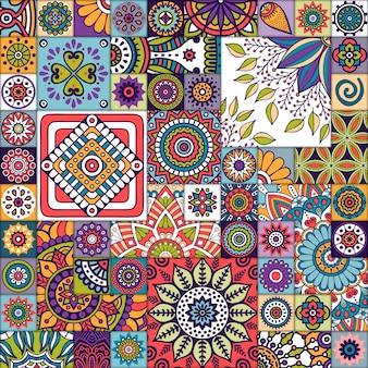 Marokkaans naadloos patroon met mandalas