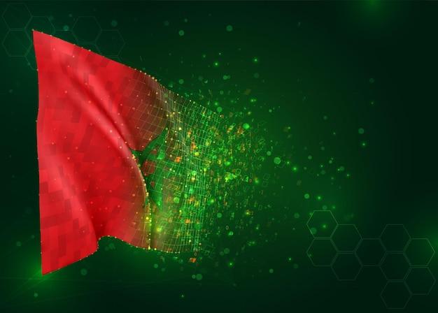 Marokko, 3d vlag op groene achtergrond met polygonengon