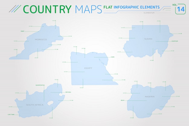 Marokko, nigeria, egypte, soedan en zuid-afrika vectorkaarten