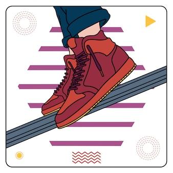 Maroon sneakers gemakkelijk bewerkbaar