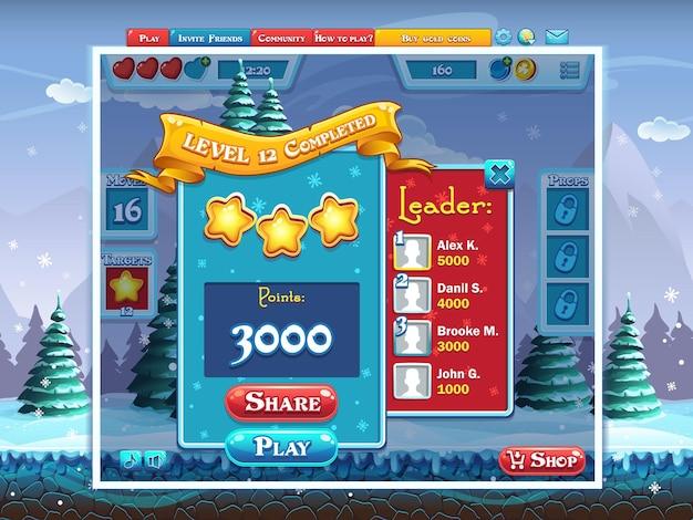 Marry christmas - voorbeeld van het voltooien van een computerspel op niveau Premium Vector