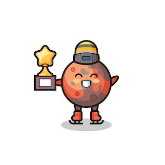 Mars-cartoon als schaatser houdt winnaartrofee, schattig stijlontwerp voor t-shirt, sticker, logo-element