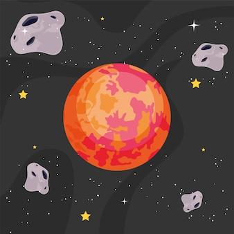 Mars en planeten in de ruimte van het universum