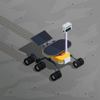 Mars exploratie isometrische illustratie met afbeelding van robotrover bewegen op het planeetoppervlak