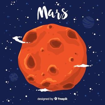Mars hand getrokken achtergrond