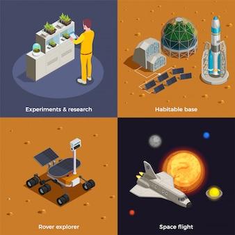 Mars kolonisatie concept set van ruimtevlucht rover explorer onderzoeksexperimenten bewoonbare basis isometrische composities