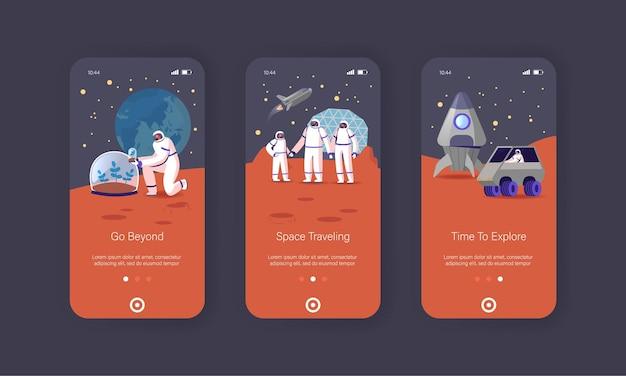 Mars kolonisatie mobiele app-pagina onboard-schermsjabloon.