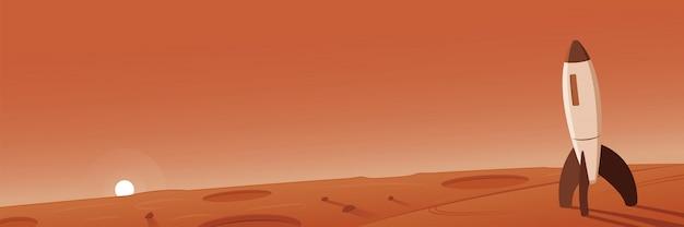 Mars landschap met raketscène