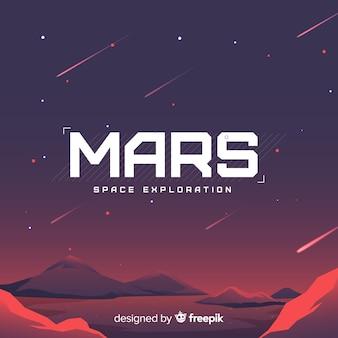 Mars-landschapsachtergrond met vlak ontwerp