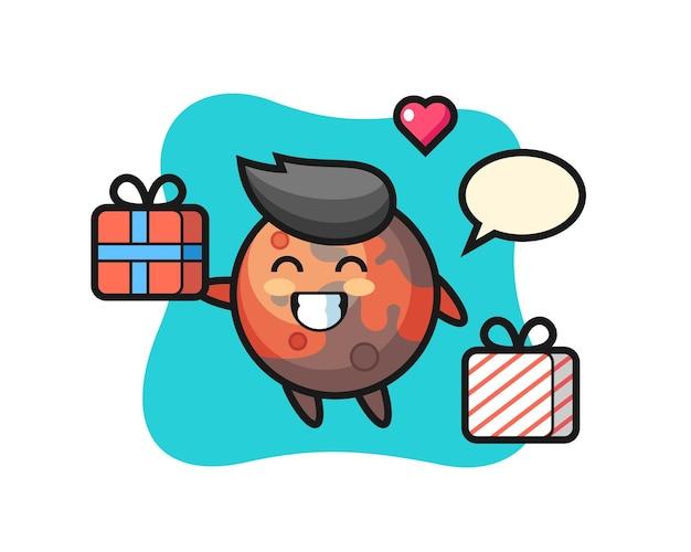 Mars mascotte cartoon die het geschenk geeft, schattig stijlontwerp voor t-shirt, sticker, logo-element